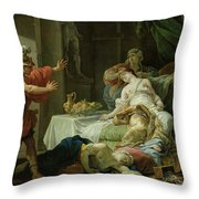 The Death Of Cleopatra, 1755 Oil On Canvas Throw Pillow