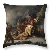 The Death Of General Montgomery In The Attack On Quebec, December 31, 1775, 1786 Oil On Canvas Throw Pillow