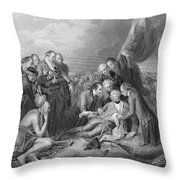 The Death Of General Wolfe, 1759, From The History Of The United States, Vol. I, By Charles Mackay Throw Pillow