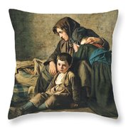 The Death Of The Pauper Oil On Canvas Throw Pillow