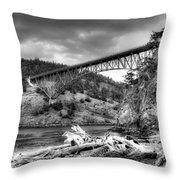 The Deception Pass Bridge II Bw Throw Pillow