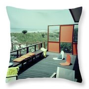 The Deck Of A Beach House Throw Pillow