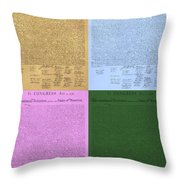 The Declaration Of Independence In Colors Throw Pillow by Rob Hans