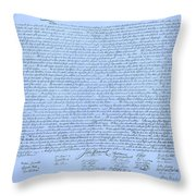 The Declaration Of Independence In Cyan Throw Pillow