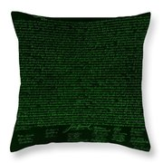 The Declaration Of Independence In Negative Green Throw Pillow by Rob Hans