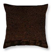 The Declaration Of Independence In Negative Orange Throw Pillow