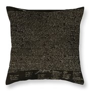 The Declaration Of Independence In Negative Sepia Throw Pillow by Rob Hans