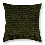 The Declaration Of Independence In Negative Yellow Throw Pillow
