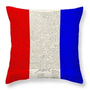 The Declaration Of Independence In Red White Blue Throw Pillow by Rob Hans