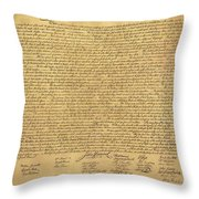 The Declaration Of Independence In Sepia Throw Pillow