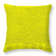The Declaration Of Independence In Yellow Throw Pillow