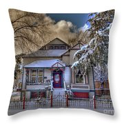 The Decorated Little House In The Snow Throw Pillow