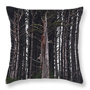 The Deep Dark Sharp Forest Throw Pillow