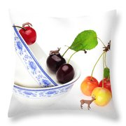 The Deers Among Cherries And Blue-and-white China Miniature Art Throw Pillow