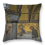 The Deesis Mosaic At Hagia Sophia Throw Pillow