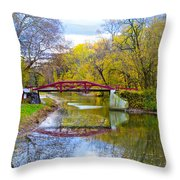 The Delaware Canal Near New Hope Pa In Autumn Throw Pillow
