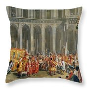 The Departure Of Alois Thomas Von Harrach, Viceroy Of Naples 1669-1742 From The Palazzo Reale Di Throw Pillow
