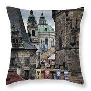 The Depths Of Prague Throw Pillow by Joan Carroll
