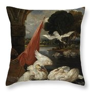 The Descent Of The Swan, Illustration Throw Pillow