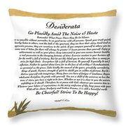 The Desiderata Poem Surrounded By Tropical Bamboo Throw Pillow