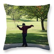 The Devil And His Pitchfork Throw Pillow