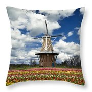 The Dezwaan Dutch Windmill Among The Tulips On Windmill Island In Holland Michigan Throw Pillow