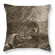 The Dioscuri Protect A Ship, 1731 Throw Pillow by Bernard Picart