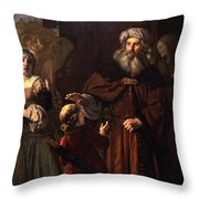 The Dismissal Of Hagar, 1650 Throw Pillow by Jan Victors