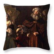 The Dismissal Of Hagar, 1650 Throw Pillow