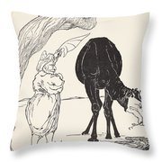 The Djinn In Charge Of All Deserts Guiding The Magic With His Magic Fan Throw Pillow by Joseph Rudyard Kipling