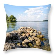 The Dnieper River In Kiev Throw Pillow