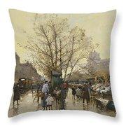 The Docks Of Paris Les Quais A Paris Throw Pillow by Eugene Galien-Laloue