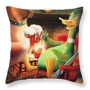 The Dog & Duck Throw Pillow