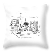 The Dog Ate My Magnetic Insoles Throw Pillow by George Booth