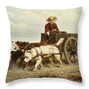 The Dog Cart Throw Pillow