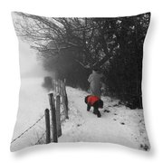 The Dog In The Red Coat Throw Pillow