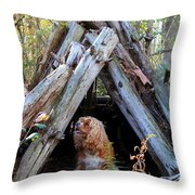 The Dog In The Teepee Throw Pillow