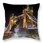 The Dolphin And The Girl Throw Pillow