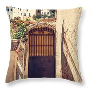 The Door With Overview Of Ronda Throw Pillow