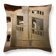 The Double-helix Staircase Chateau Chambord - France Throw Pillow