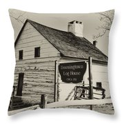 The Downingtown Log House  Throw Pillow
