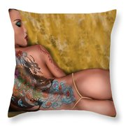 The Dragon Throw Pillow by Pete Tapang