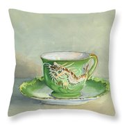 The Dragon Teacup Throw Pillow