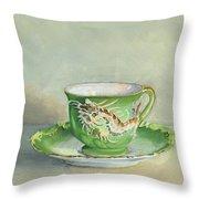 The Dragon Teacup Throw Pillow