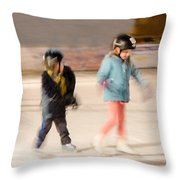 The Dreams Of Little Skaters  Throw Pillow