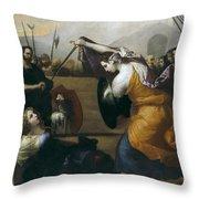 The Duel Of Isabella De Carazzi And Diambra De Pottinella Throw Pillow