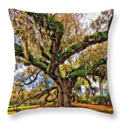 The Dueling Oak Painted Throw Pillow