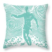 The Duke In Aqua Throw Pillow by Stephanie Troxell