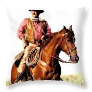 The Duke  John Wayne Throw Pillow by Iconic Images Art Gallery David Pucciarelli