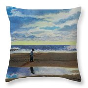 The Early Fisherman Throw Pillow